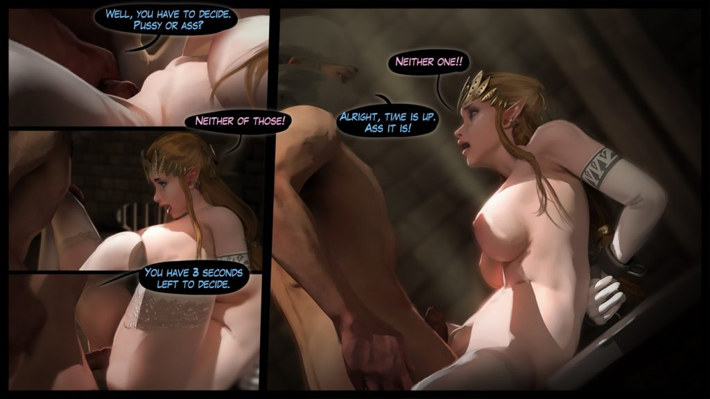 Princess Zelda riding monster cocks